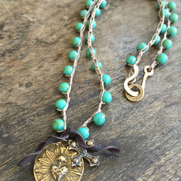 "Sacred Heart Crochet Necklace Turquoise Knotted Crocheted Jewelry ""Vintage Chic"" by Two Silver Sisters twosilversisters"