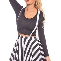 BLACK OFF WHITE STRIPES SUSPENDER A-LINE SKIRT