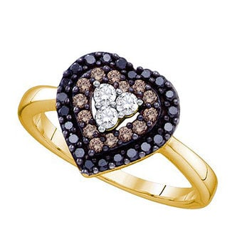 Cognac Diamond Bridal Ring in 14k Gold 0.5 ctw
