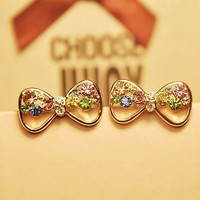 Colorful Bow Rhinestone Earrings