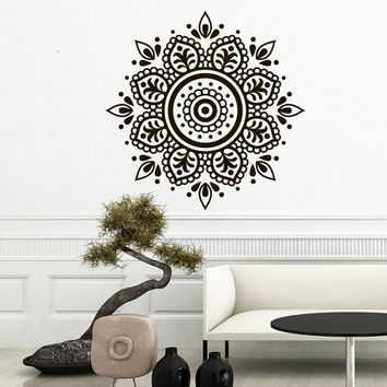 Mandala Decals Yoga Studio Decor Vinyl Sticker Ornament Moroccan Pattern Namaste Lotus Flower Boho Home Bohemian Decals  Bedroom Art T100