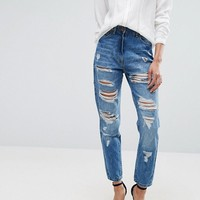 Parisian Ripped High Rise Boyfriend Jeans at asos.com