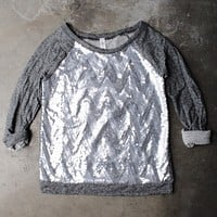 chevron sequin french terry shirt - charcoal