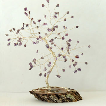 Amethyst gemstone wire tree,beaded tree,gem tree,gemstone tree,crystal tree,