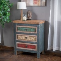 Leo Antique Dark Green Wood 3-Chest of Drawers Cabinet