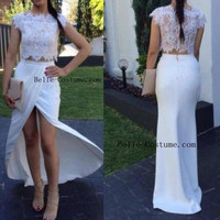 White Lace Prom Dresses, Two Piece Prom Dresses 2016, White Lace Evening Dresses