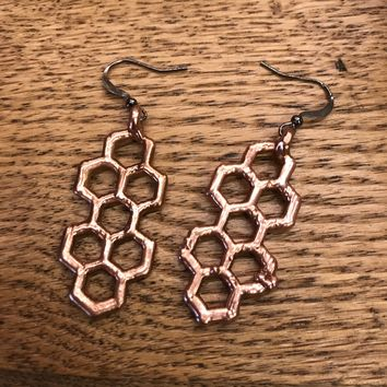 Copper Plated Honey Comb Earrings