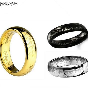 YOUREM Stainless steel lord jewelry for women ring men size 6MM width good quality gold color unisex rings drop ship fj229