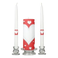 Unity candle set, white harts and red background