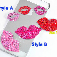 1 Piece Luxury Bling Crystal Alloy Sexy Lip Accessories Stud Charm Kawaii Cabochon Deco Den on Craft Phone Case DIY Deco AA1221