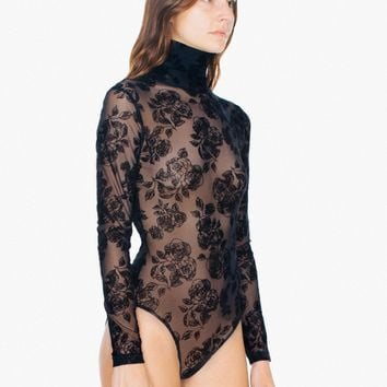 Floral Sheer Mesh Turtleneck Long Sleeve Bodysuit | American Apparel