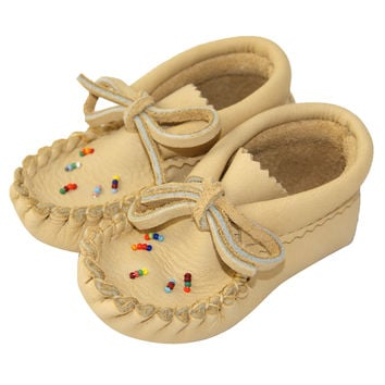 Baby Moosehide Leather Moccasins with Beading