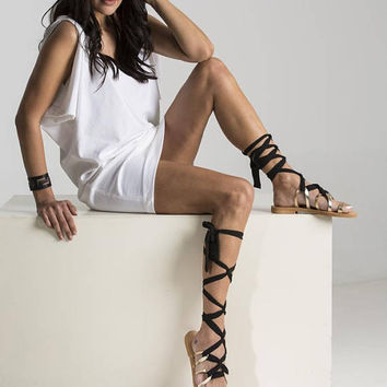 """Ancient Greek sandals """"Ornella"""", Gladiator lace up leather sandals with extra long straps crafted, gold greek sandals"""