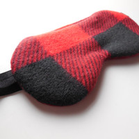 Sleep Mask, Red Black Buffalo Plaid, Fleece Cotton Satin, Unisex Adult Men Women, Regular or Large, Very Soft Warm Winter, Eye Eyemask