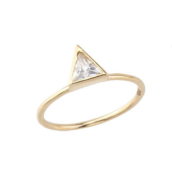 14K Gold Ring - Triangle Ring - Birthstone Ring - Triangle Jewelry - Thin Gold Ring - Geometric Ring - Engagement Ring - Solitaire Ring