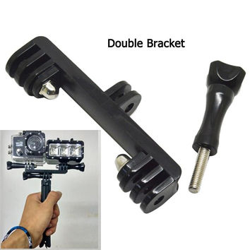 Flash light stand camera Gopro Double Bracket Bridge Connector adapter For monopod tripod go pro hero 4 3+ 3 led light
