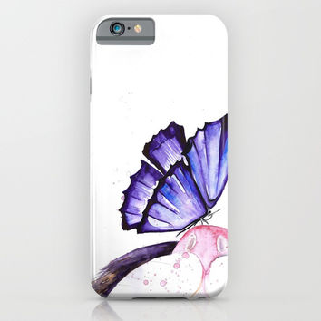 Cat And Butterfly iPhone & iPod Case by MIKART