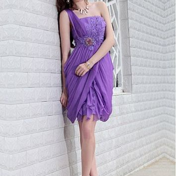 [$123.99 ] In Stock Gorgoeous Tencel Chiffon One Shoulder Neckline Short Prom Dress With Beads - Dressilyme.com