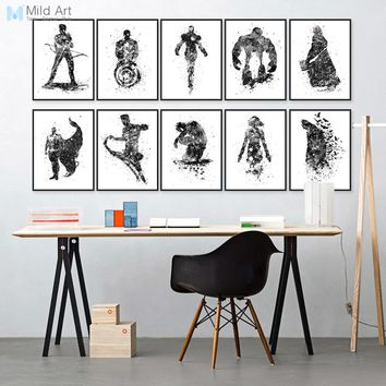 Watercolor Superhero Avengers Infinity War Batman Pop Movie Posters Print Wall Art Picture Kids Room Home Decor Canvas Painting