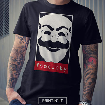 Fsociety - Mr. Robot  - Unisex t-shirt - hacker shirt - mask - tshirt - netflix - tv series - tumblr clothing - mr robot shirt
