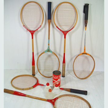 Retro Wooden Badminton Racquets Collection of 6 - Vintage Mid Century OutDoor Sports 6 Pieces Gameroom Decor - 6 Rackets Individual or Group
