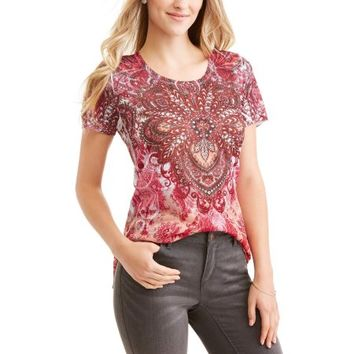 Tru Self Women's Short Sleeve Scoopneck Allover Print Tunic - Walmart.com