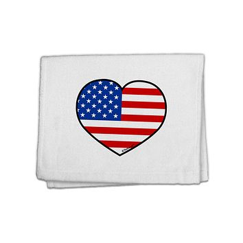 """American Flag Heart Design 11""""x18"""" Dish Fingertip Towel by TooLoud"""