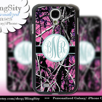 Camo Blue Monogram Galaxy S4 case S5 RealTree Muddy Camo Personalized Samsung Galaxy S3 Case Note 2 3 Cover Country Girl