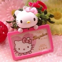 3D Hello Kitty NURSE OFFICE ID Badge Card Holder Retractable RED BOW GIFT