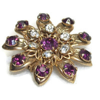 Faux Amethyst and Clear Rhinestone Floral Brooch - Small Vintage Ornate Gold Tone Purple Rhinestone Flower Pin - Purple and White