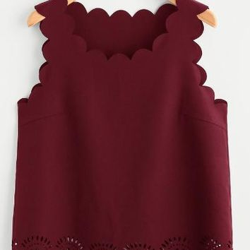 Scallop Edge Laser Cut Shell Burgundy Top