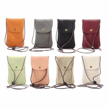 KSQ Universal Leather Cell Phone Bag Shoulder Pocket Wallet Pouch Case Neck Strap For Samsung For iPhone 7 For Huawei For HTC LG