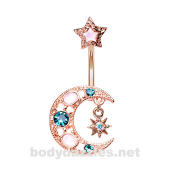 Rose Gold Stellar Opal Moon Star Belly Button Ring Stainless Steel Body Jewelry