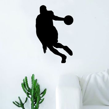 Basketball Player V4 Silhouette Quote Wall Decal Sticker Bedroom Living Room Art Vinyl Teen Sports Bball Ball is Life Dunk