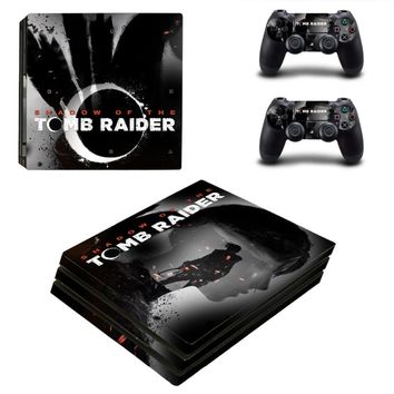 Shadow of Tomb Raider PS4 Pro Skin Sticker For Sony PlayStation 4 Console and Controllers PS4 Pro Skin Sticker Decal Vinyl