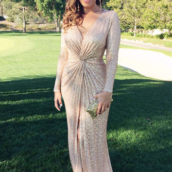 Goddess Golden Sequins Long Sleeved Maxi Gala Dress