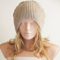 """Hand Knitted Hat, Slouchy Cable Hat, Beanie with Pompom,Boho """"Chunky """", Winter Fashion, Winter Accesories"""