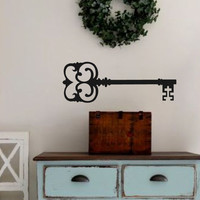 Antique Key- Vinyl Wall Decal- Ornate Skeleton Key- Wall Art