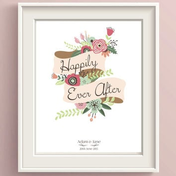 Personalized Wedding Gift ~ Happily Ever After Print ~ Mr and Mrs gifts custom wedding art, Unique wedding gift for couple, Engagement gifts