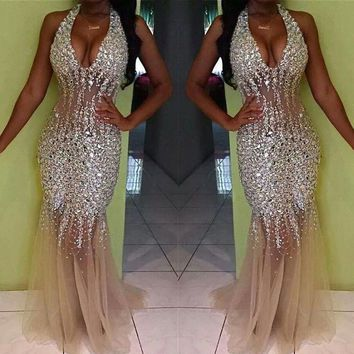 Vestido De Noche Longo 2017 Sexy Shining Sequined Halter Mermaid Prom Dresses See Through Formal Party Gown Silver Pageant Dress
