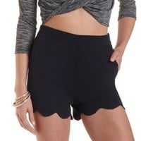 Scalloped High-Waisted Shorts by Charlotte Russe