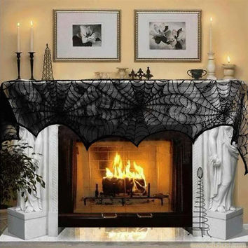 Halloween Decoration 1 Piece Black Lace Spiderweb Fireplace Mantle Scarf Cover Festive Party Supplies 45*243cm