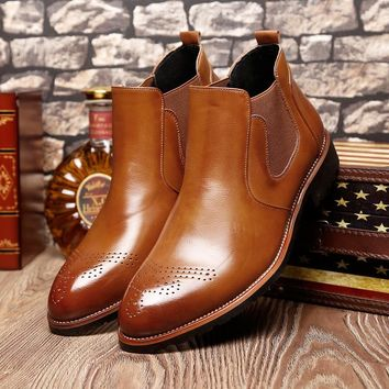 Ankle Boots Men Shoes Handmade Genuine Leather Red botas Casual British Wing Autumn Winter Shoes High Quality Brogue Shoes Men