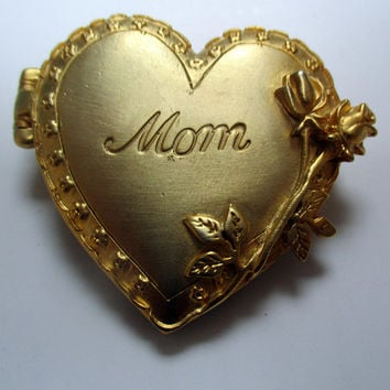 Vintage JJ pin Locket Mom Mother Grandma-Jonette Jewelry brooch photo frame- Artifacts 1986 collectible - unique gift under 20