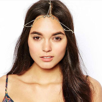 Fashion Jewelry Gold Stars Head Chain Hair Accessories Hair Chain Chain Headpiece Accesoires Mariage Wedding Hair Comb Sale (Size: 50 cm, Color: Gold) = 5613058305