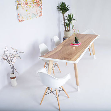 """Live Edge Table, Modern Dining Table,Midcentury Modern Dining Table,Dining Table,Wood Slab Table,Reclaimed table,Live edge Slab """"The Lihue"""""""