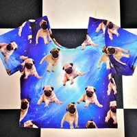 SWEET LORD O'MIGHTY! PUGS IN SPACE CROP T
