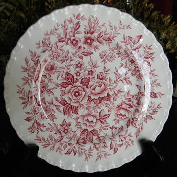 Red Toile Roses Daisies Blue Bells Vintage English Floral Chintz Transferware Plate
