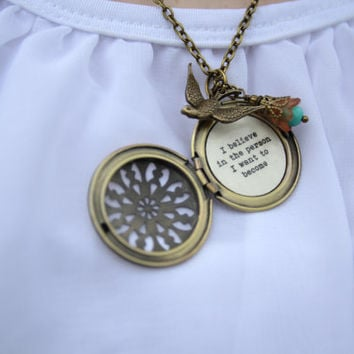 I Believe in the person I want to become locket necklace boho bohemian bird brown blue brass locket necklace with quote