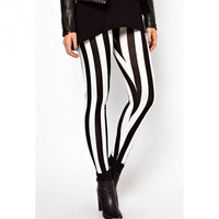 Pencil Pants High Waist Black White Striped Women Pants